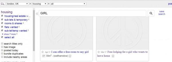 英國媒體《BBC》調查發現,年輕的弱勢族群正透過網站上的「性愛抵房租」的廣告,藉著提供房東性行為去換取住宿。(圖擷取自Craigslist)
