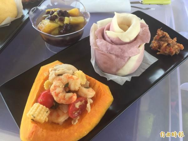 玫瑰饅頭及海鮮南瓜養生又美味。(記者張存薇攝)