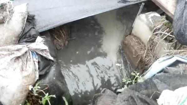 養豬場業者將未經處理的排泄污水排放,是造成地方惡臭的主因。(記者陳冠備翻攝)