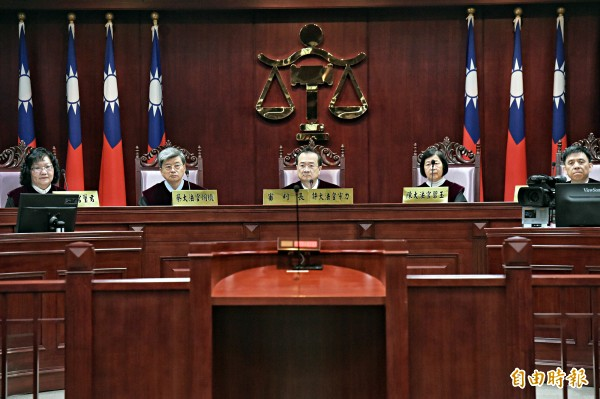 大法官會議3月24日針對同性婚姻案召開憲法法庭進行言詞辯論,釋憲結果將在5月24日公布。(記者黃耀徵攝)