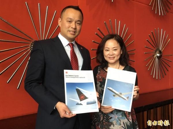 加拿大航空今天宣布正式進軍台灣市場,6月9日起每天1航班從台北直飛溫哥華。(記者蕭玗欣攝)