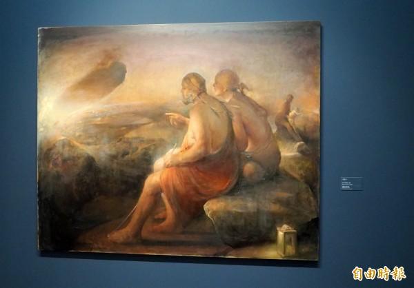 奧德·納德盧姆畫的的「父與子」,父親就是他。(記者陳鳳麗攝)