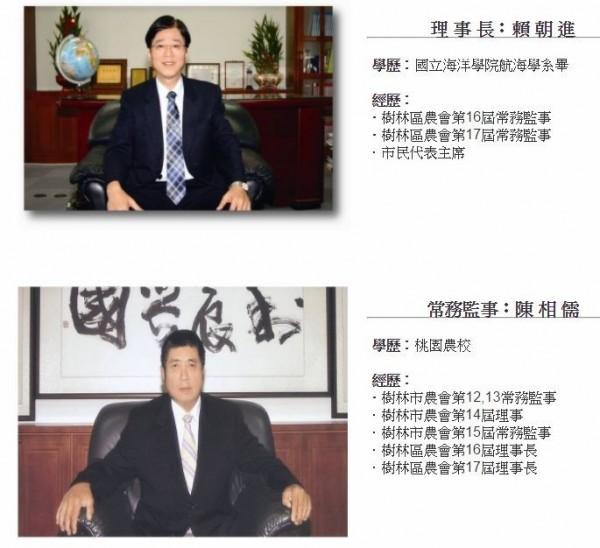 樹林農會理事長賴朝進及常務監事陳相儒。(取自樹林農會網站)