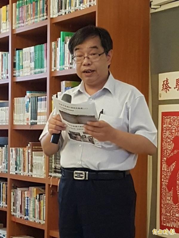 廉政署防貪組組長劉廣基說明污水下水道稽核狀況。(記者謝君臨攝)