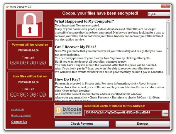 受到病毒「WanaCrypt0r 2.0」感染的電腦畫面。(圖擷取自推特)
