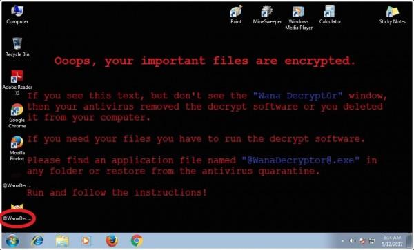 勒索病毒「WanaCrypt0r 2.0」全球肆虐。(圖擷取自推特)
