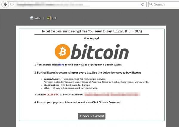 「UIWIX」比特幣支付網頁截圖。(趨勢科技提供)