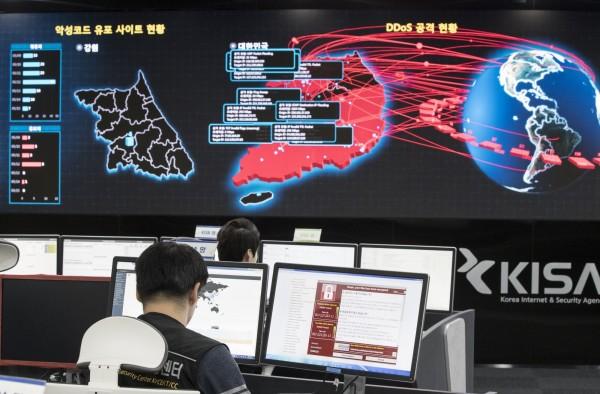 勒索病毒肆虐全球,外界將矛頭指向北韓,但北韓強烈否認。(美聯社)