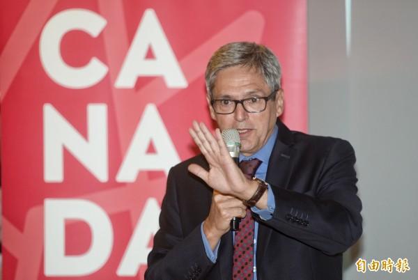 加拿大駐台代表處今舉辦150周年記者會,辦事處代表馬禮安表示,台灣是加拿大第11大貿易夥伴、亞洲第五,加拿大與台灣間已建立穩固關係,未來將努力深化這個基礎。(記者林正堃攝)