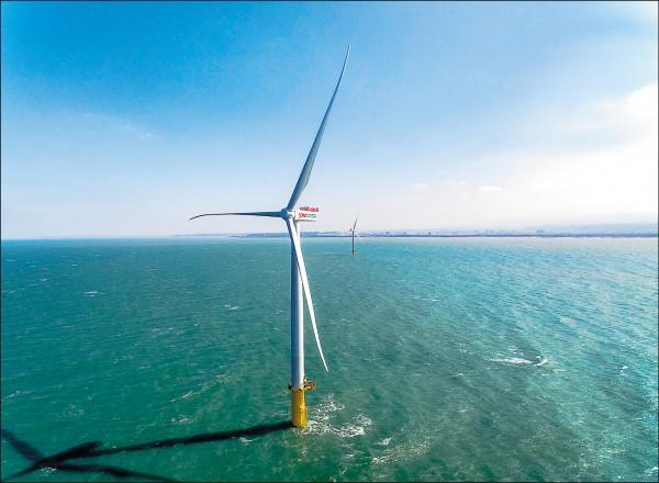 能源局日前悄悄公告,離岸風電要強制價格競標,原訂二○二五年離岸風電要興建十GW(一千萬瓩)規模,恐只剩三GW(三百萬瓩),引發風電商不滿,質疑政府是「打折」推動綠能政策。(上緯公司提供)
