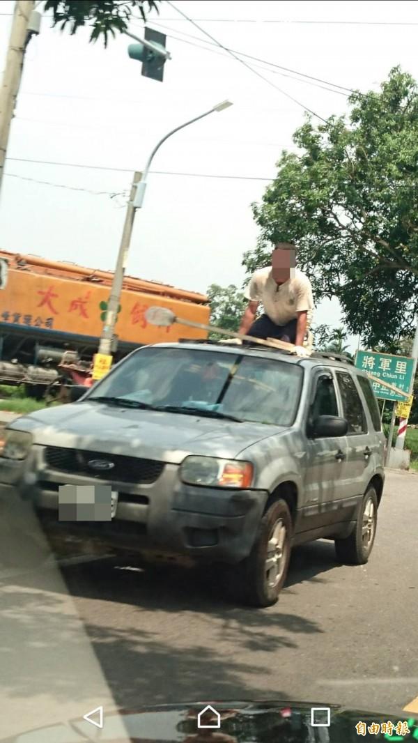 雲林縣道158甲線道路兩旁的芒果樹已成熟,有民眾目睹,有人站車頂拿竹竿摘芒果,且還是一人開車一人摘芒果,危險行為令人捏把冷汗。(記者黃淑莉攝)
