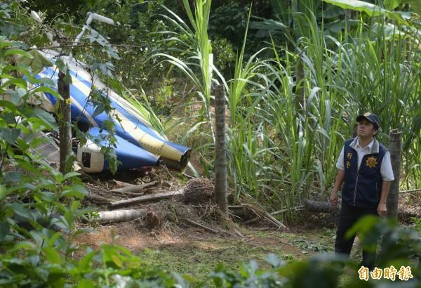 2015年,凌天航空一架直升機在清理高壓電線時發生意外,墜落在新北市泰山鄉一處果園中。(資料照,記者王敏為攝)