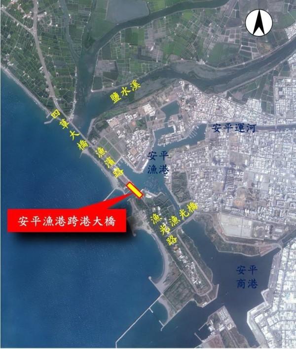 安平漁港跨港大橋位置圖。(工務局提供)