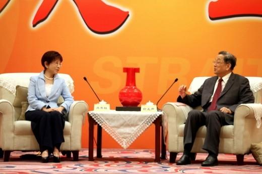 國民黨主席洪秀柱昨日與中國全國政協主席俞正聲會面。(照片由國民黨政策會執行長蔡正元提供)
