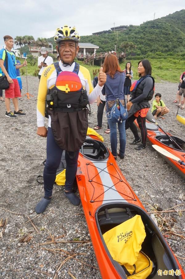 活動發起人廖大瑋19日將與夥伴出海挑戰黑潮。(記者林敬倫攝)