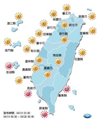 今天各地紫外線多為高量級。(取自氣象局網站)