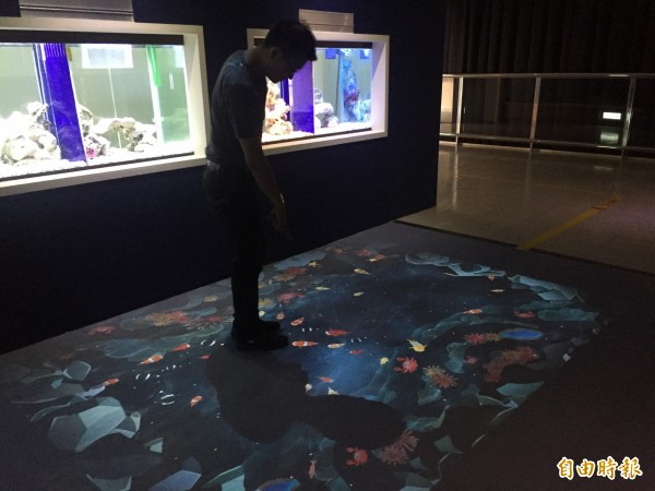 台東海洋夢想館增加許多多媒體互動設施。(記者張存薇攝)