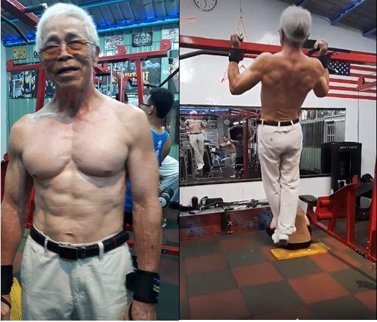 這名72歲的超猛阿伯有著結實的肌肉,能輕鬆拉起單槓。(圖擷自臉書「爆料公社」)