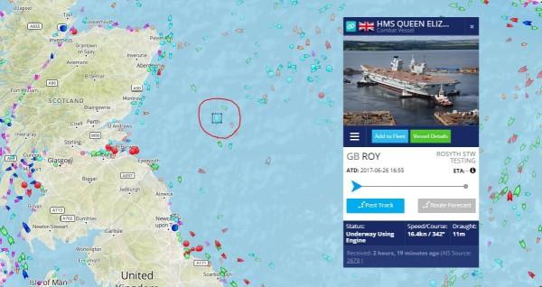 伊麗莎白女王號(HMS Queen Elizabeth II,圖中紅圈處)在台灣時間7月2日晚上10點多的位置示意圖。(圖擷取自網站_www.marinetraffic.com)