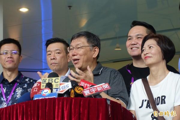 柯文哲上午參訪上海市長江隧道管控中心,並接受媒體聯訪。記者郭安家攝
