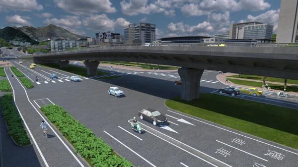新北市政府規劃淡北道路進入台北市後,接上加設在大度路上的高架橋,下高架後,再往前行駛,可接洲美快速道路。圖為大度路高架橋模擬圖。(新北市政府新建工程處提供)