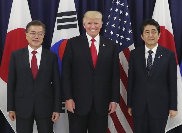 隨著北韓威脅升高,對於加大對北韓進行施壓,美日韓三國元首已達成共識。(歐新社)