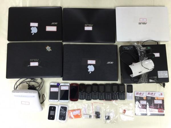 警方查扣犯罪集團作案用各項贓證物。(記者劉慶侯翻攝)