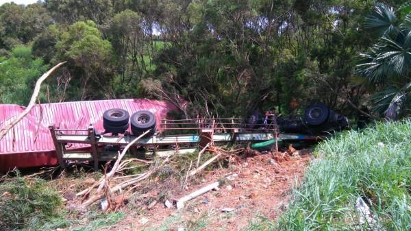 貨櫃車翻覆龍井交流道南下閘道邊坡。(記者張軒哲翻攝)