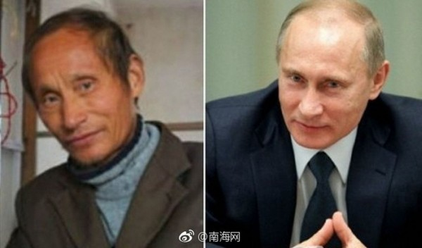 羅元平(左)長像神似普廷。(圖擷自微博)