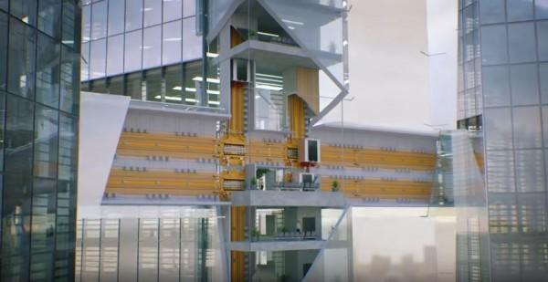 ThyssenKrupp開發了一套新型態的電梯,不只可以上下移動,甚至也能水平移動!(圖片由ThyssenKrupp授權使用)