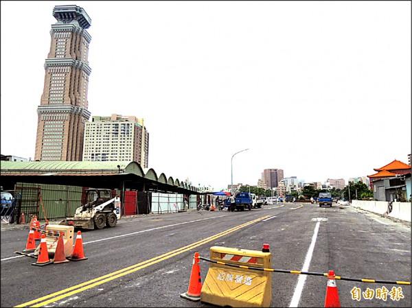 十全路打通至覺民路工程預定本週可完工,圖為覺民路一端。(記者王榮祥攝)