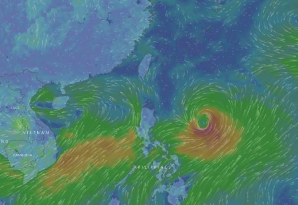 氣象專家李富城認為,菲律賓東方的「尼莎」一旦形成颱風,就會直接侵台。(圖擷取自Windyty網站)