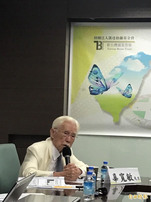 辜寬敏今天出席新台灣國策智庫記者會。(記者蘇芳禾攝)