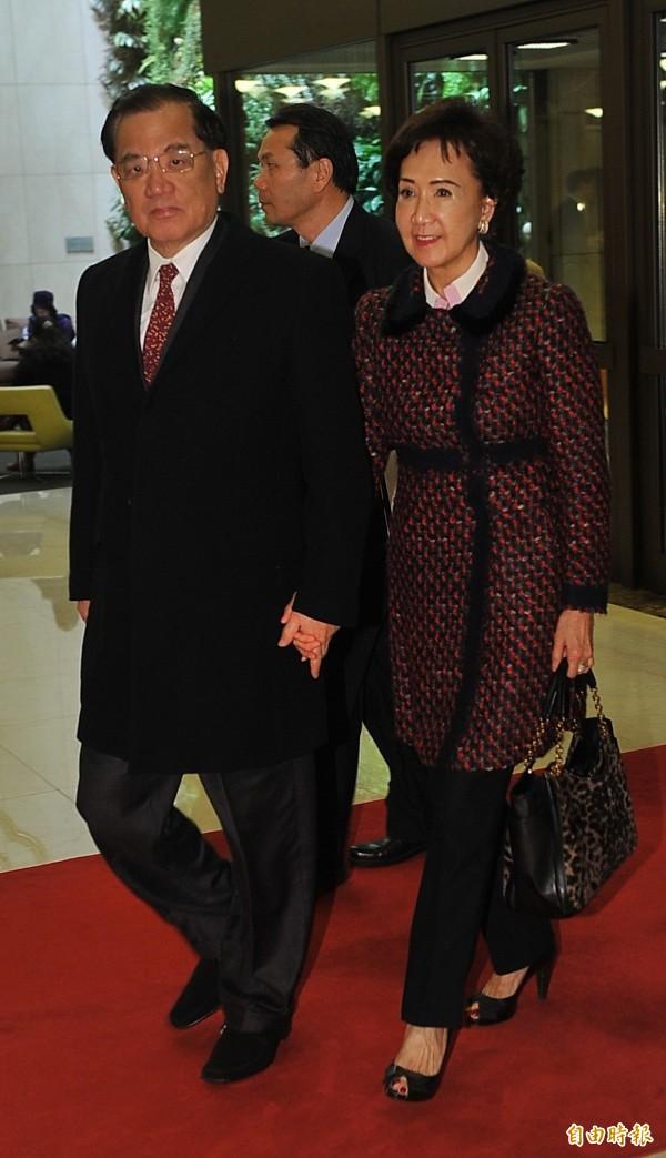 國民黨榮譽主席連戰與夫人連方瑀。(資料照,記者潘少棠攝)