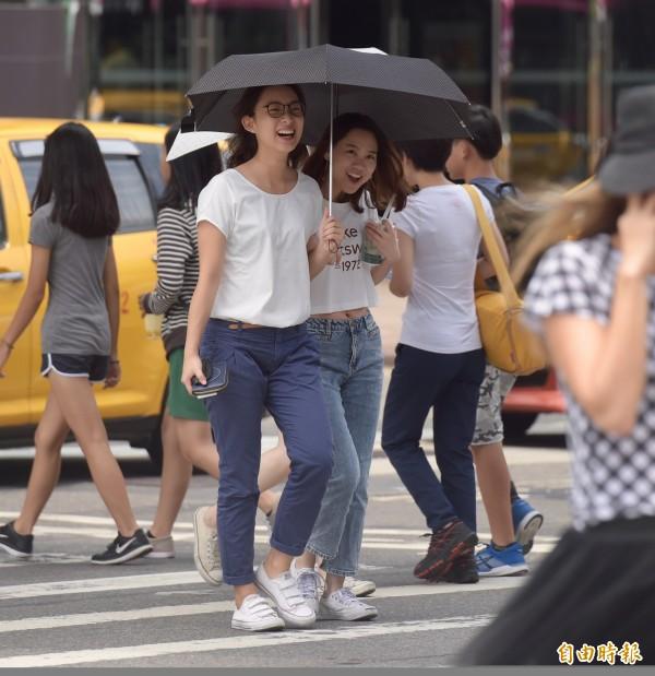 天氣超熱!民眾出門紛紛撐起陽傘。(資料照,記者黃耀徵攝)