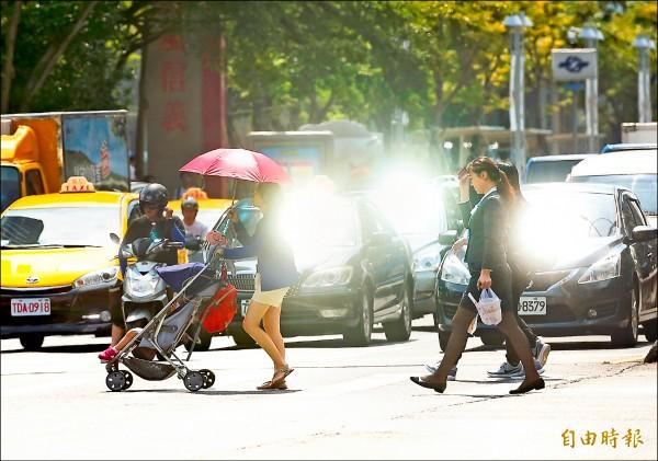 昨天雖是立秋,但全台熱得像鍋爐一樣,台北更飆出38.5度高溫,氣象局預估未來一週都是晴朗悶熱的天氣,也因此限電警戒的「紅燈」將一路亮到週五,成為史上最長限電警戒期。(記者方賓照攝)