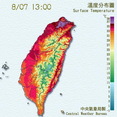 昨日受到上游大陸暖空氣及西南風沉降的影響,台北高溫達38.5度,創今年入夏以來全臺最高溫紀錄。(圖擷取自中央氣象局)
