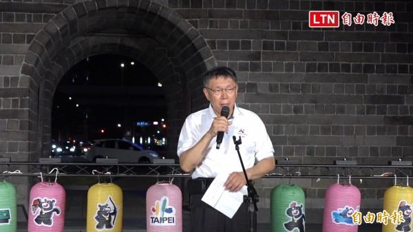 世大運踩街被批像出殯,柯文哲表示,花車展現宮廟文化是台灣真實特色,辦世大運不是要讓人家看見「歐美化」的台灣。(記者劉信德攝)