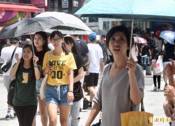 中央氣象局指出,13日各地高溫炎熱,中午大台北地區高溫已達36度,有37度高溫出現的機率。(記者簡榮豐攝)
