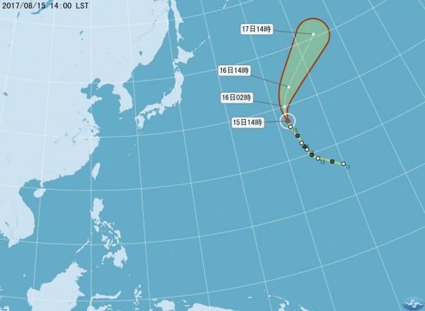 今年第12號中度颱風榕樹對台無直接影響。(圖擷自中央氣象局)