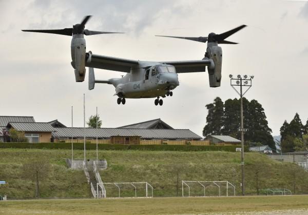 意外頻傳的「魚鷹」運輸機,據傳將於18日起投入美日聯合演習。(法新社)