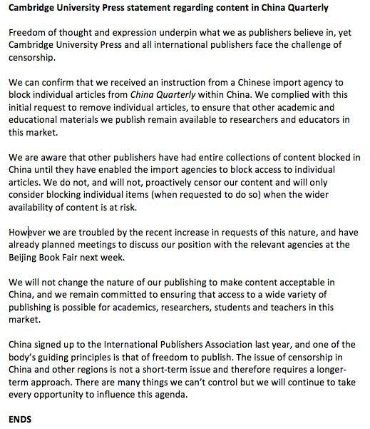 劍橋大學出版社近日傳出,被中國國家新聞出版廣電總局要求將300多篇文章刪除,這些文章內容大多涉及天安門、文革、西藏、新疆、香港及台灣等。(圖擷自推特)