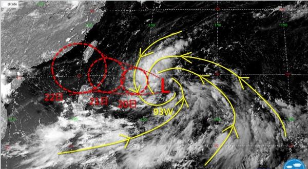 目前在菲律賓東方海面有一低壓蠢動,若發展順利,不排除有成為颱風的可能性,下週一開始可能逐漸影響台灣天氣。(圖擷自臉書「天氣職人-吳聖宇」)