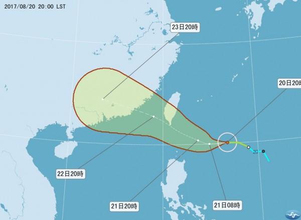輕度颱風天鴿預計週一發布陸上颱風警報。(圖擷自氣象局網站)