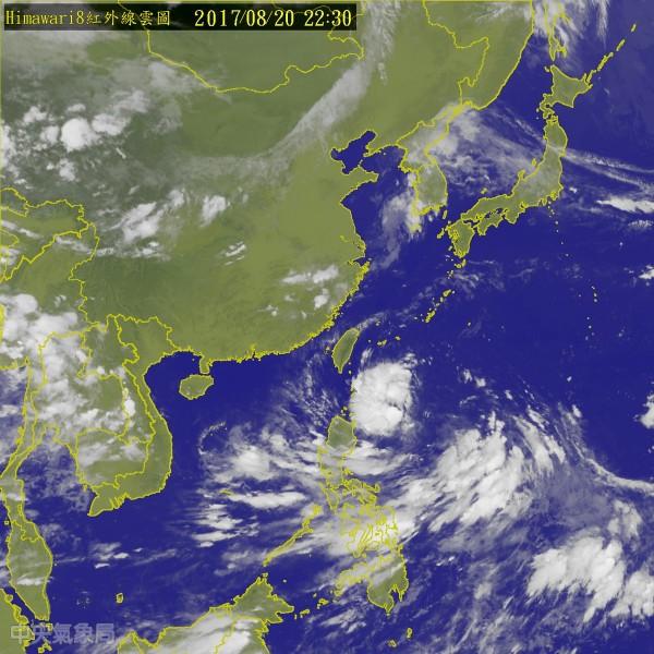 輕颱天鴿20日下午生成。(圖取自中央氣象局)