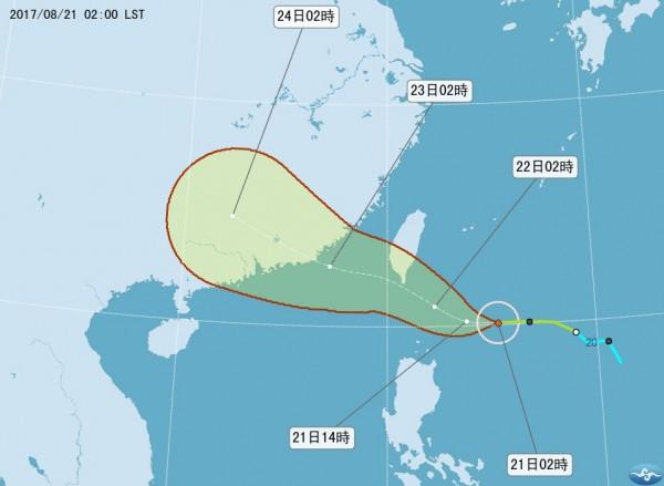 氣象局預計最快今天下午2時30分發布陸上颱風警報。(圖擷取自中央氣象局)
