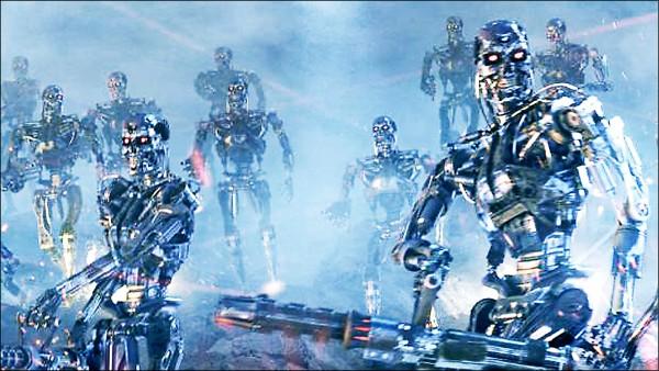 26國人工智慧及機器人企業的專家和領袖警告,「殺手機器人」可能帶來新型的毀滅性戰爭,要求聯合國全面禁止發展。圖為「魔鬼終結者」系列電影中的機器人大軍。 (取自網路)