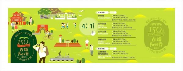 台南4大古蹟景點及德陽艦,首度發行限量套票。(文化局提供)