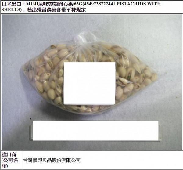 台灣無印良品公司今年6月30日從日本進口一批從日本進口的「原味帶殼開心果」,殘留農藥益達胺0.02ppm,超標1倍。(圖擷自食藥署網站)