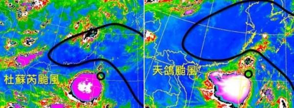 吳聖宇表示,天鴿颱風(右)與2012的杜蘇芮颱風非常相似。(擷取自天氣職人-吳聖宇臉書)